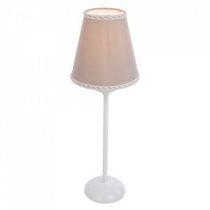 Veioza alba/bej cappuccino din metal si textil 41 cm Rafaello Aldex