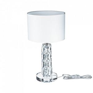 Veioza argintie/alba din sticla si metal 44 cm Talento Maytoni