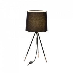 Veioza neagra/aramie din metal si textil 54,5 cm Miccado Brilliant