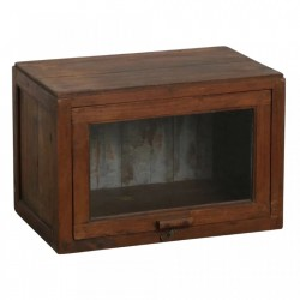 Vitrina maro din lemn de tec si sticla 36 cm Miriam Raw Materials
