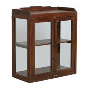 Vitrina maro din lemn de tec si sticla 72 cm Mainpur Raw Materials