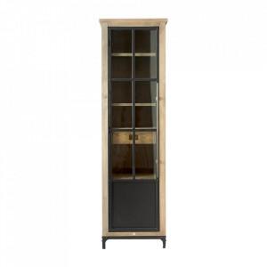 Vitrina maro/neagra din lemn si fier 214 cm The Hoxton Riviera Maison