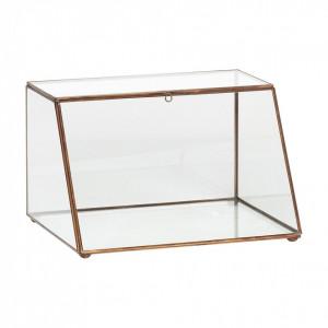 Cutie transparenta/aurie din sticla si alama 24x30 cm Antique Gold Hubsch