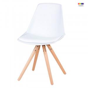 Scaun dining alb din lemn de fag si polipropilena Bella White Somcasa