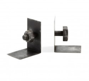 Set 2 suporturi pentru carti negre din metal Cobalt La Forma