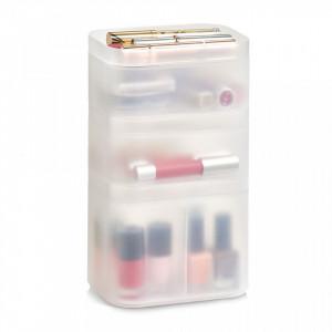 Set 3 cutii cu capac transparente din plastic pentru cosmetice Stackable Box Zeller