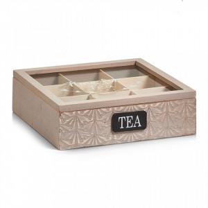 Cutie maro din lemn si sticla pentru ceaiuri Tea Bag Box Zeller