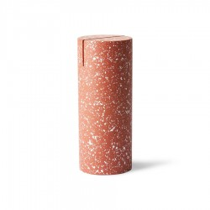 Decoratiune rosie din ciment 15 cm Terrazzo Cylinder HK Living