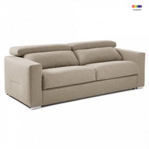 Canapea extensibila bej din textil si metal 224 cm Queen Poli La Forma