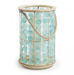 Veioza albastra din sticla si fibre 55 cm Gyro La Forma
