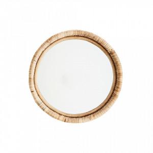 Oglinda rotunda maro din bambus 27 cm Anda Madam Stoltz
