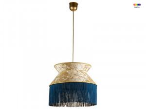 Lustra albastra/aurie din catifea si PVC Cancan Santiago Pons