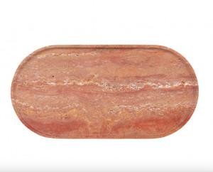 Platou decorativ rosu din travertin Red Marble Mini Versmissen