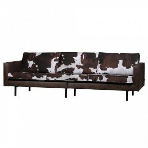 Canapea multicolora din piele si lemn pentru 3 persoane Rodeo Be Pure Home