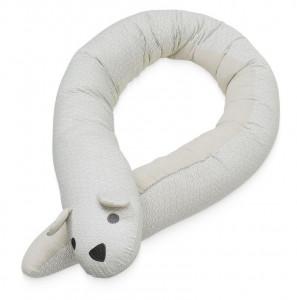 Protectie gri din bumbac pentru pat 40x180 cm Animal Bumper Grey Wave Cam Cam