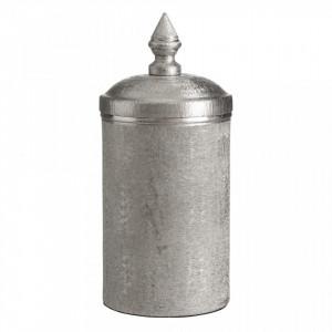 Recipient argintiu din aluminiu cu capac 11,5x26,5 cm Camina L Ixia