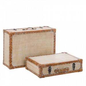 Set 2 cutii tip valiza crem din MDF si piele ecologica Simil Ixia