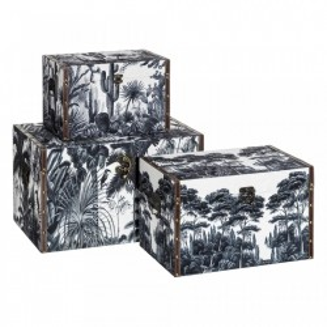 Set 3 cutii cu capac alb/gri din MDF si textil Amazon Flat Ixia