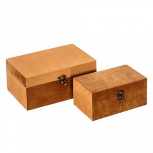 Set 2 cutii cu capac maro din MDF si poliester Foxes Ixia