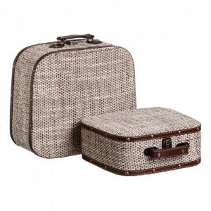 Set 2 cutii tip valiza bej din carton si poliester Fowa Ixia