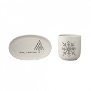 Set ceasca si farfurioara alba din ceramica Cross Bloomingville