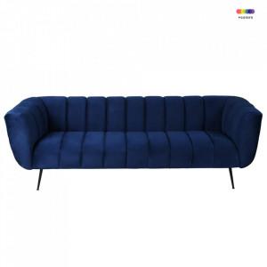 Canapea albastru inchis din metal si poliester pentru 3 persoane Fiora Zago
