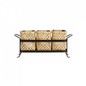 Suport de bucatarie maro/negru din bambus si fier pentru tacamuri Bamboo Cutlery Basket Nordal