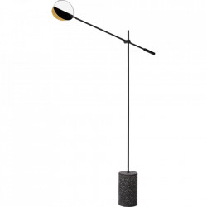 Lampadar negru din metal si terrazzo cu LED 135 cm Leaves Floor Bolia