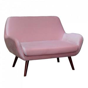 Canapea roz din catifea si lemn de fag 124 cm Tobaka Santiago Pons