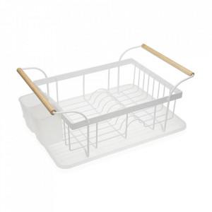 Suport alb/maro din metal si plastic pentru vase Lupita Versa Home