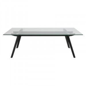Masa transparenta/neagra din sticla si metal pentru cafea 60x120 cm Monti Actona Company