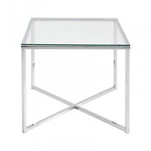 Masuta argintie/transparenta din metal si sticla 50x50 cm Cross Lavi Actona Company