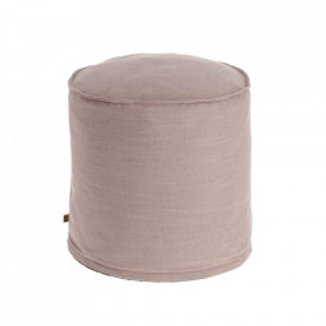 Puf rotund roz din textil 42 cm Maelina La Forma