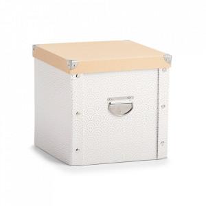 Organizator cu capac alb/auriu din carton Ballbox Zeller