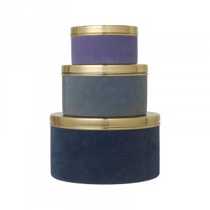 Set 3 cutii cu capac multicolore din metal si catifea Victoria Blueberry Cozy Living Copenhagen