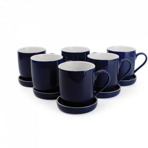 Set 6 cani cu 6 farfurioare albastre din portelan 350 ml Blanco Aerts