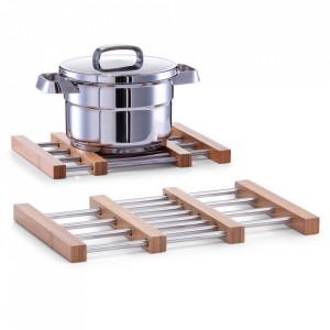 Suport extensibil argintiu/maro din inox si lemn pentru vase fierbinti Valentine Zeller