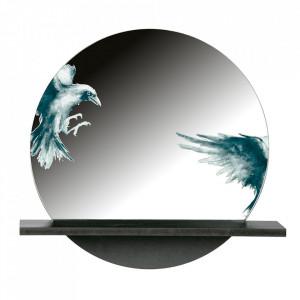 Oglinda neagra din MDF si fier cu raft 46x49 cm Raven Be Pure Home