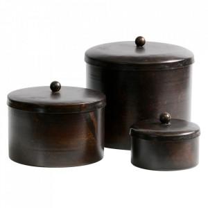 Set 3 cutii cu capac maro din metal Treasury Be Pure Home