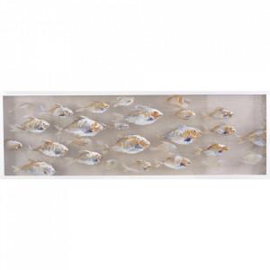 Tablou multicolor din canvas si lemn 50x150 cm Aquarium Ter Halle