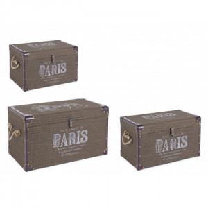 Set 3 cufere verzi din poliester si MDF Travel Paris Bizzotto