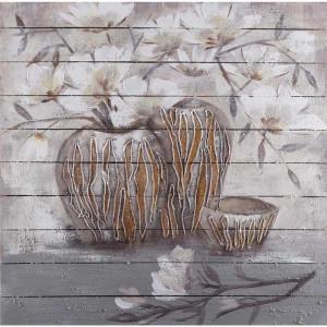 Tablou multicolor din canvas si lemn 100x100 cm April Ter Halle