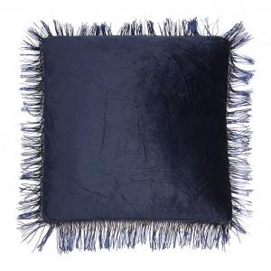 Perna decorativa patrata albastra din poliester 45x45 cm Fringe Santiago Pons