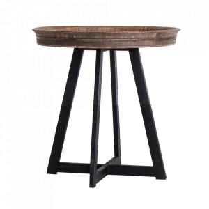 Masuta maro/neagra din fier si lemn 60 cm Nuapa Vical Home