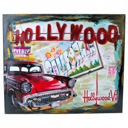 Decoratiune multicolora din metal pentru perete 50x60 cm Hollywood