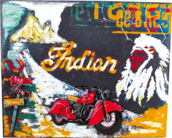 Decoratiune multicolora din metal pentru perete 50x60 cm Indian