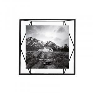 Rama foto neagra/transparenta din metal si sticla pentru perete 25x26 cm Nuri LifeStyle Home Collection
