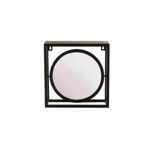 Oglinda rotunda neagra din metal cu raft 24x24 cm Alcott Lifestyle Home Collection