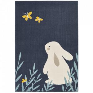 Covor albastru inchis din polipropilena 120x170 cm Vini Bunny Lottie Zala Living