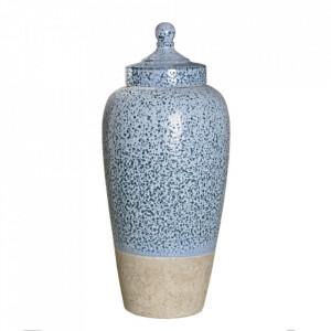 Recipient albastru din ceramica cu capac 21,5x49 cm Dorob Ixia